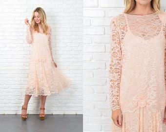 Vintage 70s Peach lace Dress Two Piece Top Puff Sleeve Midi Drop Waist Medium M 10975