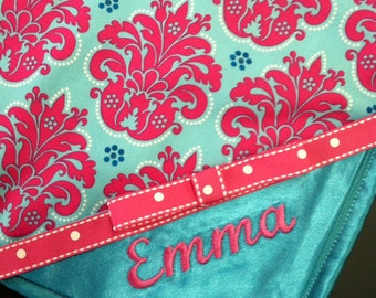 Pink Teal Baby Blanket, Personalized Baby Girl Blanket, Monogrammed Baby Girl Blanket, Satin Baby Blanket, Baby Shower Gift, Newborn Blanket