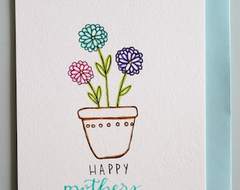 Blank Mothers Day Flower Card