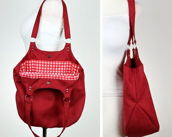 Shoulder bag sewing pattern and tutorial, DIY handbag, shopping tote - t009