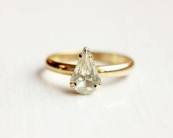 Teardrop Crystal Ring, Drop Ring, Crystal Ring, Small Crystal Ring, White Crystal Ring, Clear Crystal Ring, Gold Band Ring, Size 7 Ring