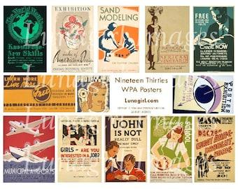 RETRO POSTERS digital collage sheet DOWNLOAD vintage 1930s wpa graphic arts design ephemera printables americana mid-century advertising