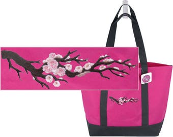 Beautiful Cherry Blossoms Day Tote Bag Spring Flowering Tree  + Name Custom Embroidered