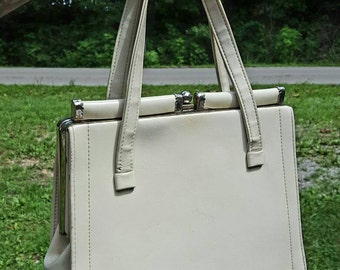 Vintage Cream Purse Off White Handbag Antique White Bag Pin Up Rockabilly Style
