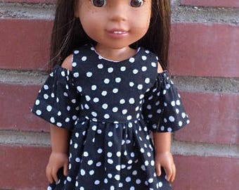 black and white peek a boo dress for 14 inch dolls