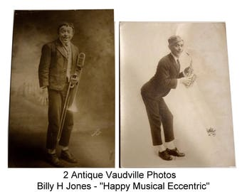 """Two Antique Original Photographs of Vaudeville Performer Billy H Jones - """"Happy Musical Eccentric"""". Collectible Show Business Photos."""