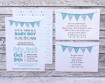 Printed Baby Shower Invitation Boy / Blue Stars Flags