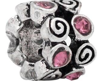 Pink Rhinestone bead for Bracelet Europeans 9x7mm
