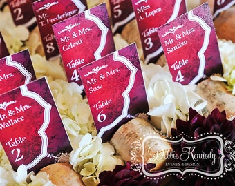 Rustic Winter Red Bespoke Place Cards / Escort Cards DEPOSIT - Red Winter Wedding - Reception Seating, Custom Design Wedding Name Cards