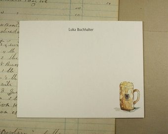 NEW! Beer Stein Mug Custom Notecard Stationery. Thank You, Any Occasion, Personalize Watercolor Print, Set of 10.