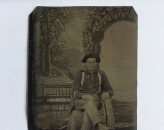 1 Antique Tin Type Photograph 1800s Creepy Sitting Man Portrait Farmer Scenic Backdrop