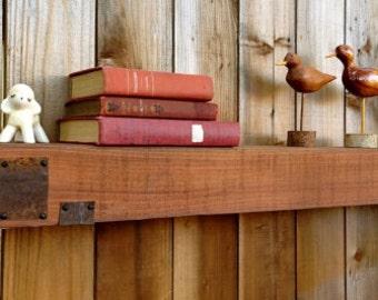 "Floating Shelf Barn Wood Wall Mounted Beam Wooden Beams Shelving Reclaimed Wide Rustic Wood Wall Mount Shelf Beam Shelves Furniture USA 95"""