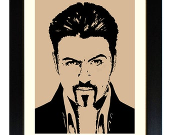 GEORGE MICHAEL, Framed Limited Edition Fine Art Giclée Print, from a Line illustration, by Gerald Bright