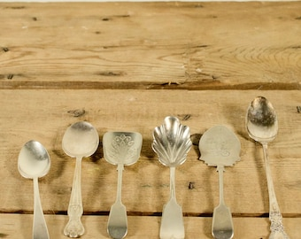 Assorted Silver Plate Spoon collection, 6 vintage spoons - sugar shell spoon - teaspoon, WM Rogers, IS, EPNS, Wedding or Christmas gift