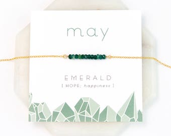 May Birthstone Necklace, Emerald Necklace Gold, Raw Stone Necklace, Personalized Bar Necklace, Gift for Girlfriend, Stocking Stuffer, Simple