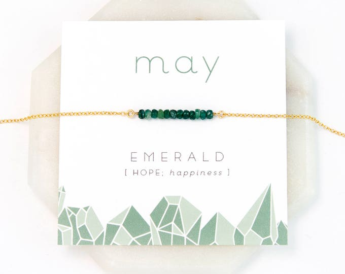 Featured listing image: May Birthstone Necklace, Emerald Necklace Gold, Raw Stone Necklace, Personalized Bar Necklace, Gift for Girlfriend, Stocking Stuffer, Simple