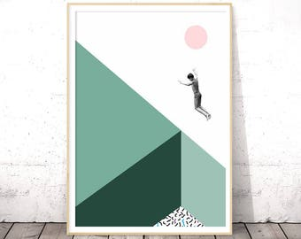 Minimalist Poster, Modern Art, Dorm Room Decor, College Student Gifts, Gift for Men, Teenager, Mint Wall Art, Under 10, Coworker Printables