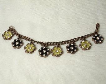 Art Deco French Bracelet with Hand Enameling and Swarovski rhinestones