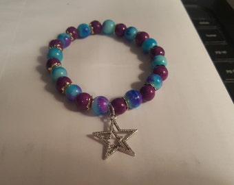Purple and Blue Bracelet with Star Charm - Free Shipping