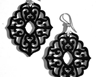 Black Laser Cut Leather Lace and Sterling Silver Dangle Earrings - Arabesque - QUEEN OF MIRRORS