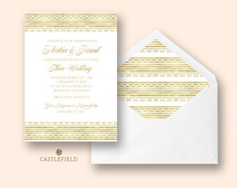 Castlefield White and Gold Glam African Pattern Wedding Event Invitation Envelope Liner Stationery Customized Printable Luxury