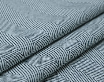 Japan wool blend fabric, stretchy and wrinkle,vertical herringbone pattern,clear texture,navy-white,sew for top,dress,pant,craft by the yard