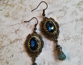 Gothic Earrings Antiqued gold Bronze with Blue Stone - Victorian Filigree Goth Earrings Gothic Filigree Ornate Earrings