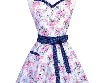 Sweetheart Retro Apron - Vintge Pink Navy Blue Rose Floral Apron - Womens Flirty Sexy Kitchen Pinup Cute Apron with Pocket - Monogram Option