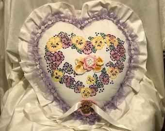 Floral vintage ring bearer pillow