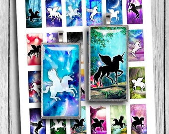 Unicorns 1x2 inch Domino Printable images for Pendants  Digital Collage Sheet - Instant Download