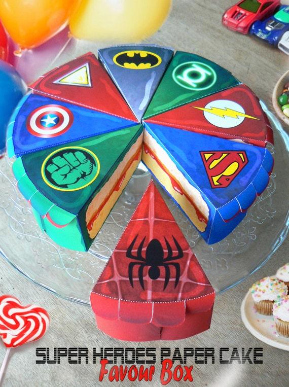 super heros 8 boites gteaux en papier tlchargeable instantannment anniversaire batman superman ironman flash green lantern spiderman - Gateau Anniversaire Super Heros