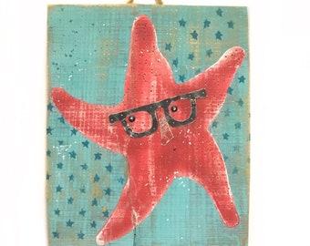Starfish Beach Art Personalize and Adopt This Original Painting- Hipster Beach Art Starfish Home Decor on Reclaimed Wood Wall Art Mangoseed