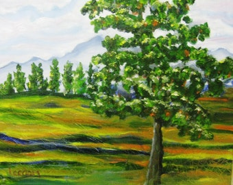Pine tree oil painting, Original oil painting pine tree landscape