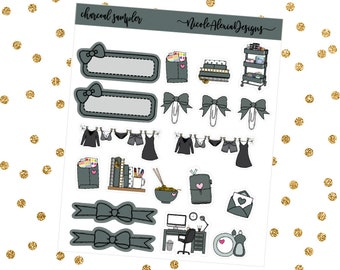 Charcoal Sampler, Bow Planner Stickers