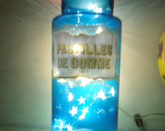 French Vintage | Blue Glass|Pharmacy Jar|