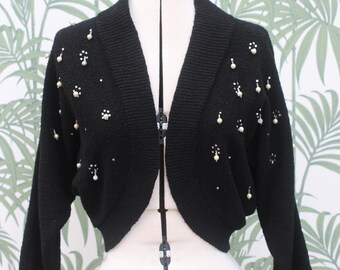 Vintage 1950s 50s Black Knit Beaded Shrug Bolero Cardigan UK 10 12 US 8 10 medium sleeved