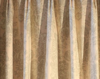 "Pair of Custom Pleated 96"" Pale Pink Linen Drapes"