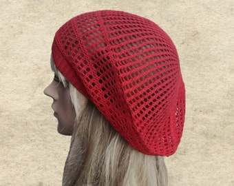 Summer lace beret, Knitted cotton hats, Slouch beret summer, Cotton lace tam, Red summer hats, Summer cotton hats, Slouch hats womens