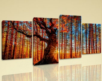 Large Forest Trees Landscape Photography On Canvas Print Wall Art Living Room, Large Forest Wall Art, Living Room, Saddle Brown