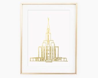 LDS Oquirrh Mountain Temple Gold Foil Art Print