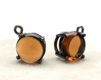 2 Round Smooth Smoky Quartz Crystal Glass Pendant, 12mm, Black Color Plated over Brass Prong Setting. [R2190421]