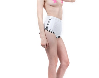 Latex High-Waisted Retro Athletic Shorts with Double Stripe