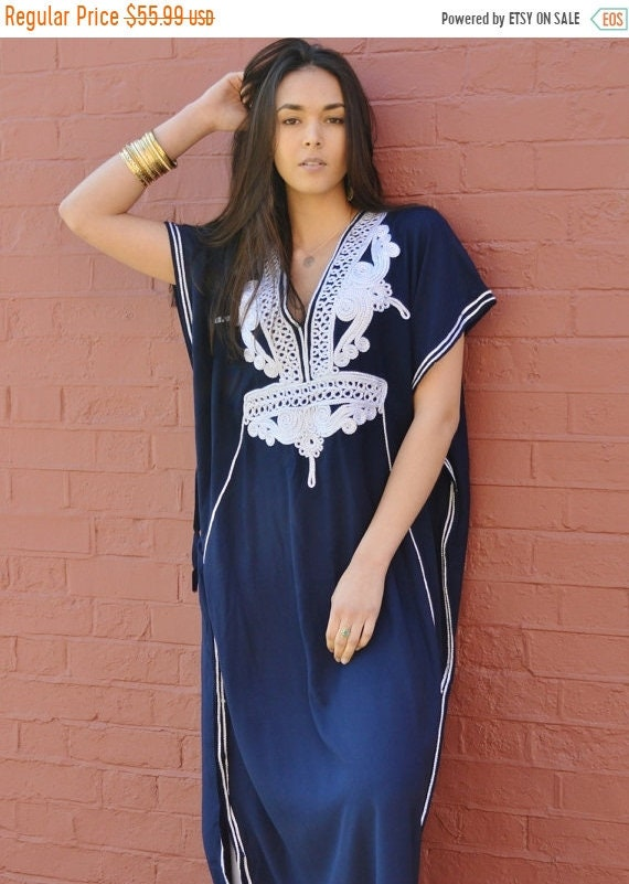 Kaftan Sale 20% Off/ Navy Blue with Silver Boho Marrakech Resort Caftan Kaftan -beach cover ups, resortwear,loungewear,maximbirthdays, honey