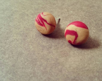 Earrings red and gold of polymer clay