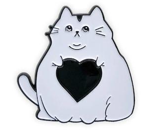 Fat Cat Love Enamel Pin ( White ), cat pins, cat enamel pins, animal pins, fat cat pin, Coffee Pins, Lapel Pin, cat lapel pin, cat lady,