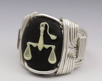 Libra Zodiac Astrology Sign September 23 - October 23 Acrylic Cameo Sterling Silver Wire Wrapped Ring - Made to Order, Ships Fast!