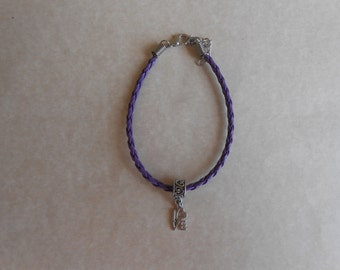 Love Charm Purple Braided Leather Bracelet