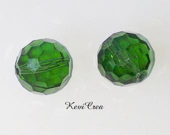 4 x round acrylic beads Green Khaki faceted 15mm