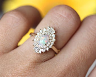 Opal Engagement Ring, Art Deco halo engagement ring, Double halo ring, Ethiopian opal  ring
