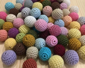 SALE Crochet wooden beads 80 Pcs 20-22mm free shipping